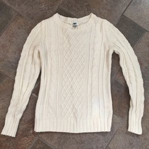 Old Navy Cable Knit Sweater Ivory Small EUC